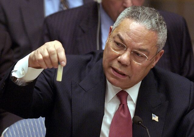 U.S. Secretary of State Colin Powell holds up a vial that he said could contain anthrax as he presents evidence of Iraq's alleged weapons programs to the United Nations Security Council. (File)