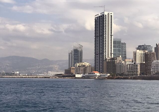 A view of the waterfront from the Mediterranean Sea, Beirut