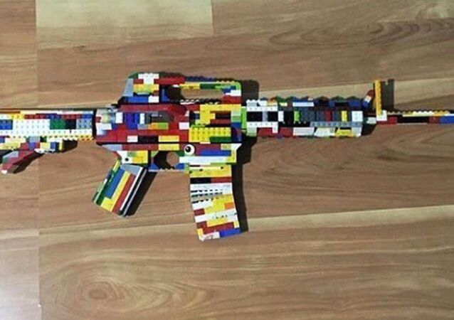This undated photo provided by the San Diego County Sheriff's Office shows an AR-15 rifle made of Legos that Authorities say a 14-year-old boy posted on Instagram, along with a threat against West Hills High School in Santee, Calif