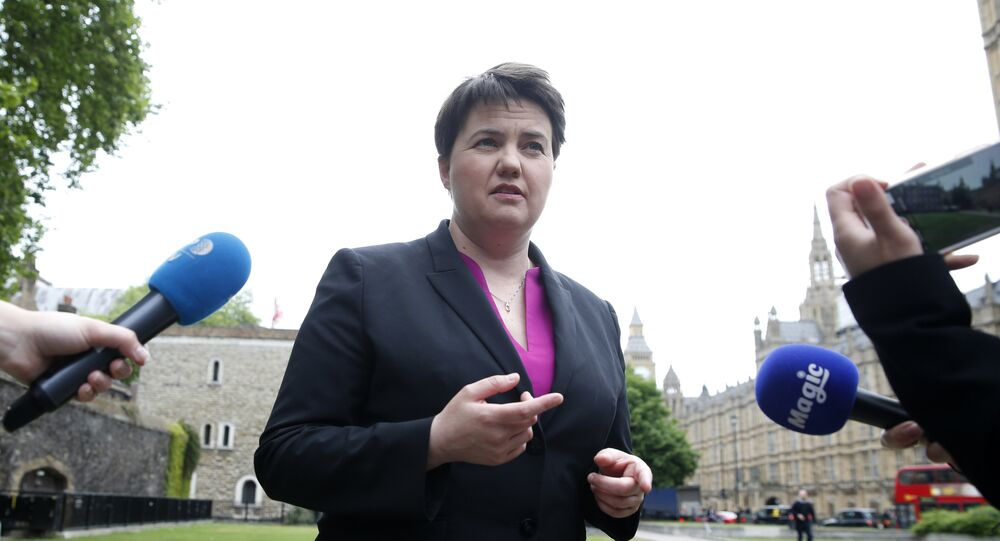Scottish Conservative Party leader Ruth Davidson gives a series of TV interviews near the Palace of Westminster, in London, Monday May 15, 2017