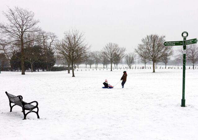 Children sledge on Winn's Common, Plumstead, London, Britain