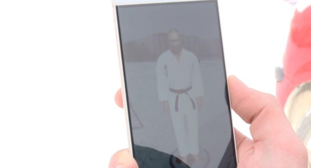 A large-scale hologram of Vladimir Putin in kimono created in Tyumen