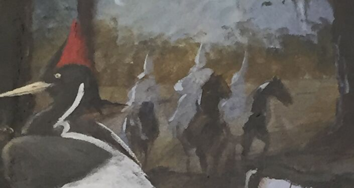 Mural at the Baker County Clerk of Court painted by Gene Barber presented on January 18, 2002, detail of KKK Members on Horses