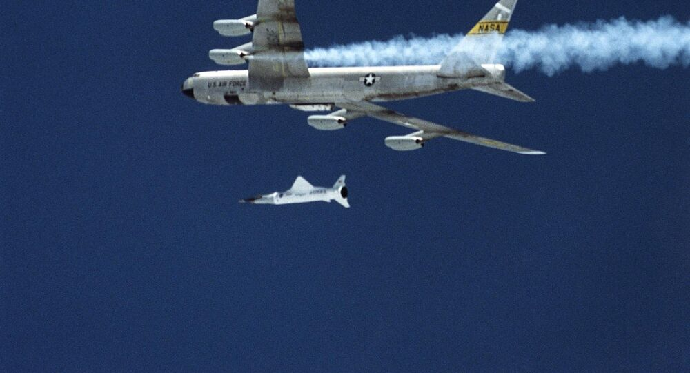 This 02 June 2001 image released late 04 June by NASA shows the X-43A hypersonic research aircraft and the Pegassus rocket motor being dropped by NASA's B-52B aircraft from the Dryden Research Center at Edwards Air Force Base in California