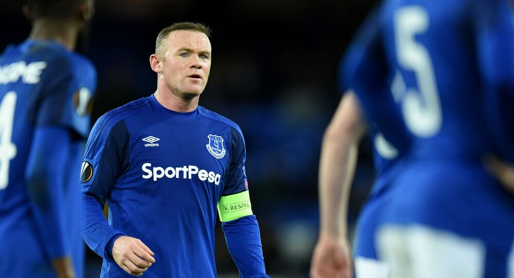 Everton's English striker Wayne Rooney reacts during the UEFA Europa League Group E football match between Everton and Atalanta at Goodison Park in Liverpool, north west England on November 23, 2017