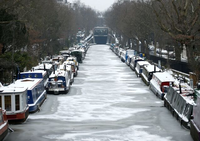 Canal boats are frozen at their berths on the Regent's Canal in Maida Vale in London, Britain, March 1, 2018