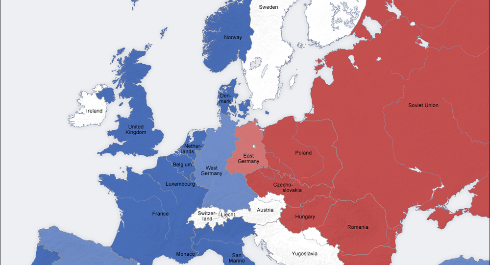 Map of Cold War military alliances in Europe. Since the Soviet collapse, NATO has swallowed up every country that was once part of the Warsaw Pact, and even began advancing into the former USSR itself.
