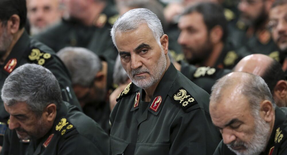 Revolutionary Guard Gen. Qassem Soleimani, center, attends a meeting with Supreme Leader Ayatollah Ali Khamenei and Revolutionary Guard commanders in Tehran, Iran, file photo.