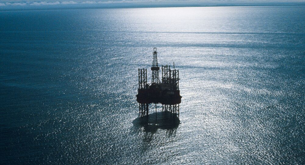 An Oka jackup floating drilling rig prospecting a shelf oil and gas field in the Sea of Okhotsk, Russian Far East