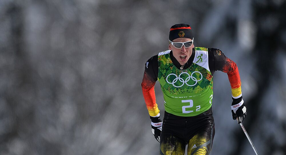 Tim Tscharnke (Germany) during the semifinal round of the team sprint in men's cross-country skiing at the XXII Olympic Winter Games in Sochi