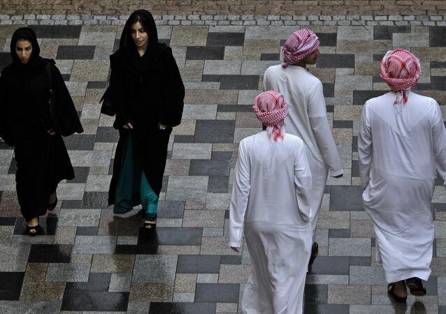 A modestly dressed women enjoy a weekend at JBR Walk in Dubai, United Arab emirates (File)