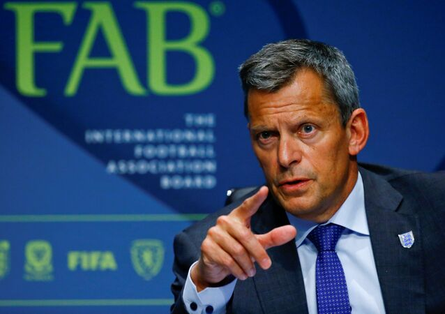 CEO Martin Glenn of the Football Association addresses a news conference after the 132nd Annual Meeting of the IFAB (International Football Association Board) at FIFA's headquarters in Zurich, Switzerland March 3, 2018
