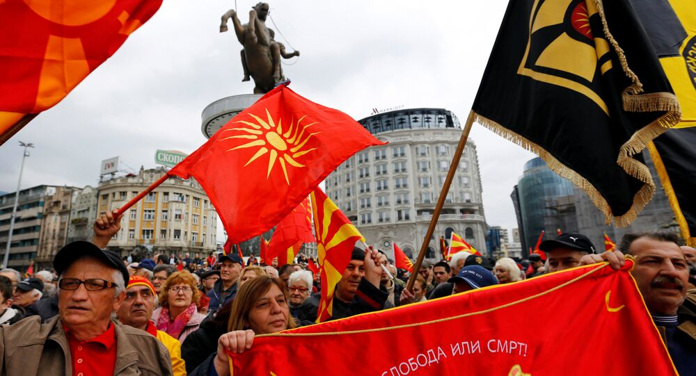 People shout slogans during a protest organized by the We are Macedonia movement as they rally against the name change demanded by Greece, in Skopje, Macedonia March 4,2018