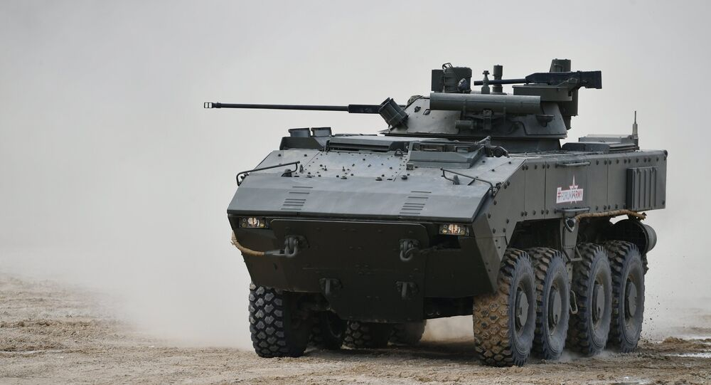 The K-17 'Bumerang' infantry fighting vehicle is seen here during a show of modern and prospective weaponry at the Army 2017 International Military-Technical Forum, Moscow Region