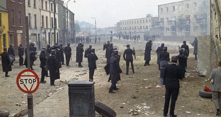 The aftermath of riots in Shankill Road in Belfast, Northern Ireland around September 1969.