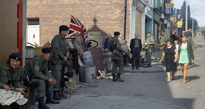 British troops in Belfast, Northern Ireland around 1969.