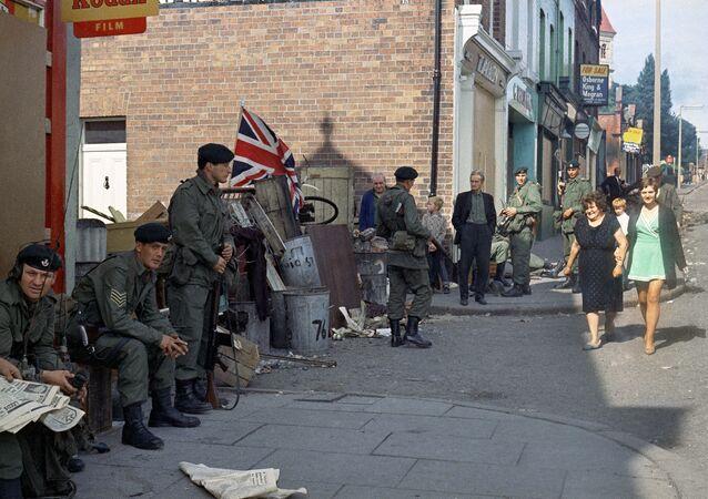 British troops in Belfast, Northern Ireland around 1969.