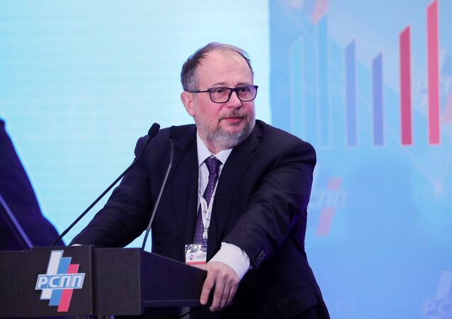 Vladimir Lisin, Chairman of the Board of directors, Novolipetsk Steel, speaks at the report and election convention of the Russian Union of Industrialists and Entrepreneurs (RSPP)