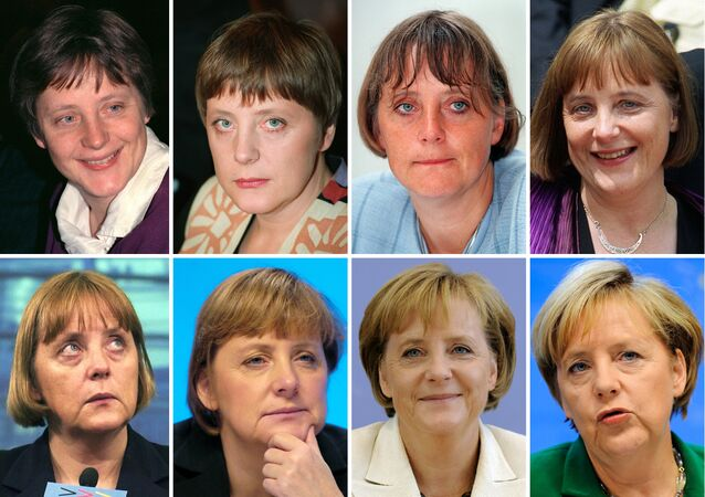 Combo of pictures shows Angela Merkel, now German Chancellor, pictured in (top row, L-R): 1991, 1994, 1997, 1999, 2000 and (bottom row, L-R): 2001, 2003, 2009, 2010, 2013. Merkel, often voted Germany's most popular politician for her no-nonsense leadership style, faces elections on September 22, 2013