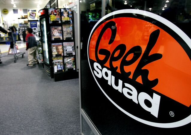Customers head to the check out counters past the Geek Squad area of the Best Buy store Wednesday, March 29, 2006, in Sandy, Utah. Electronics retailer Best Buy Co. said its profit grew 13 percent last quarter as sales improved from customers buying bigger-ticket items like flat-panel televisions, MP3 players and laptop computers.