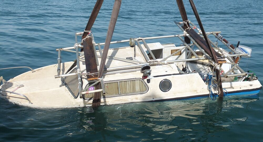 The James 2 - which was later salvaged - sank after four Romanian anglers went on a night fishing trip