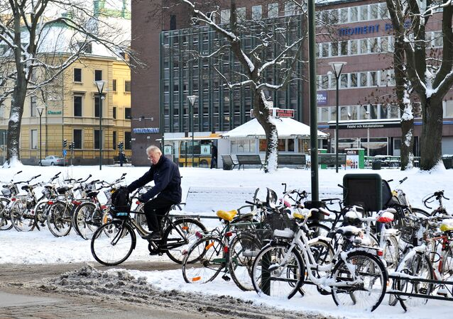 A bicycle parking near the Central Railway Station in the city of Malmö, Sweden, where the Eurovision 2013 final will be held.
