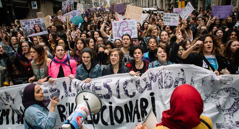 A protest rally in Barcelona on International Women's Day