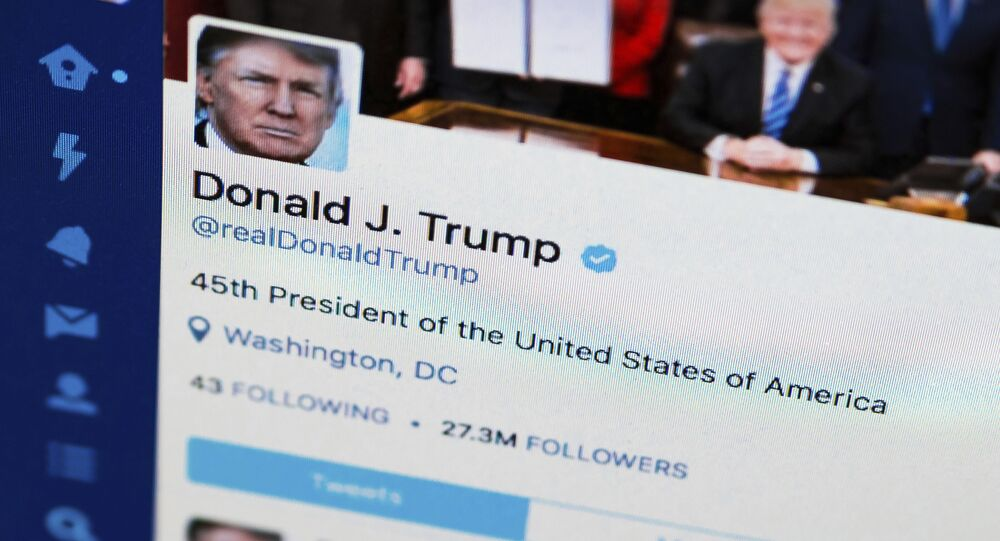 This April 3, 2017, file photo shows U.S. President Donald Trump's Twitter feed on a computer screen in Washington