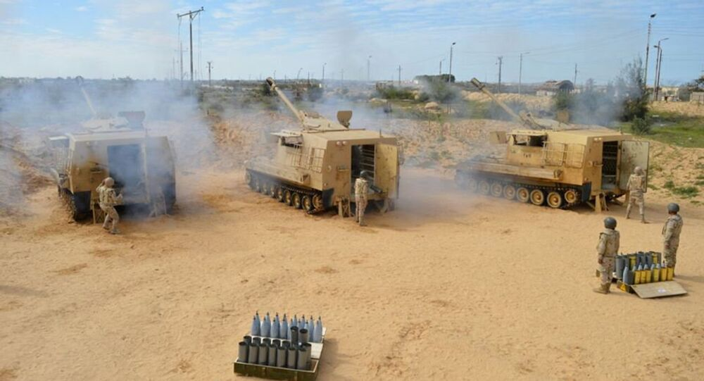 Egyptian Army's soldiers fire artilleries during a launch of a major assault against militants in the troubled northern part of the Sinai peninsula in Al Arish, Egypt, in this undated handout picture made available by the Ministry of Defence, February 27, 2018