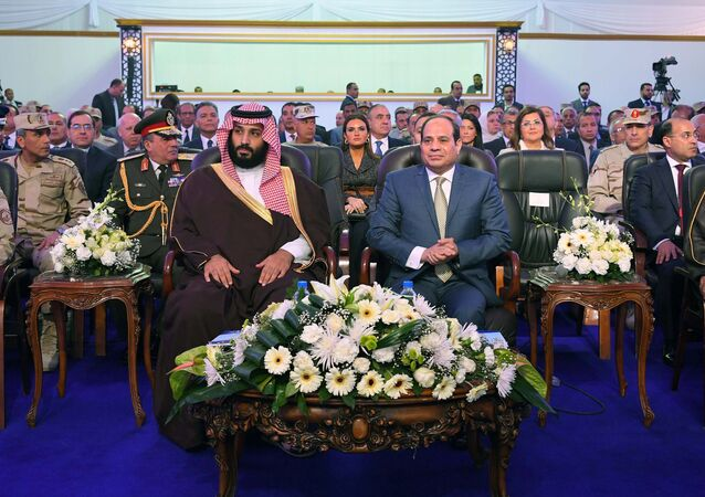 Egyptian President Abdel Fattah al-Sisi (R) and Saudi Crown Prince Mohammad Bin Salman (L) visit the city of Ismailia, Egypt March 5, 2018, in this handout picture courtesy of the Egyptian Presidency