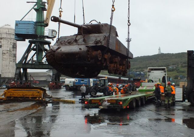 A US Sherman tank of the WWII era which raised from bottom of the Barents Sea is seen here in Murmansk merchant sea port. File photo