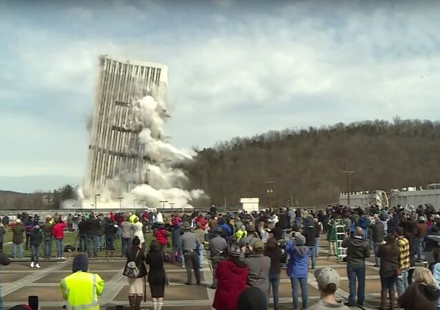 Kentucky building destroyed in controlled explosion