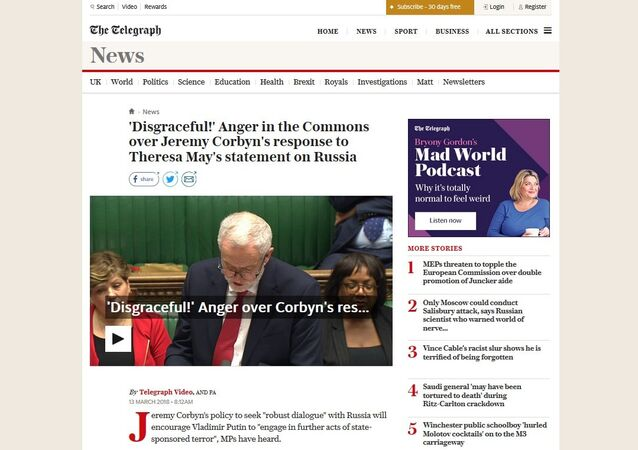 Screengrab of The Telegraph's attack on 'peacenik' Jeremy Corbyn.