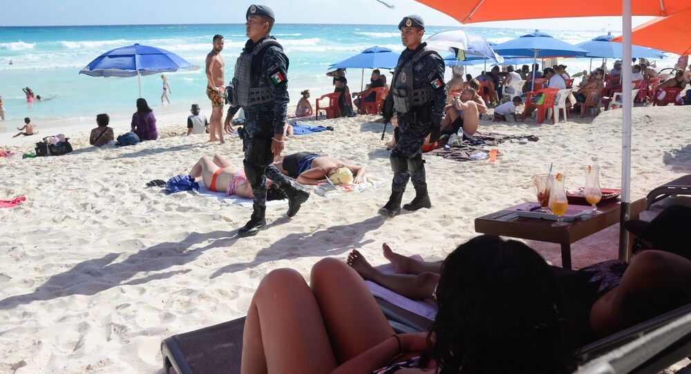 The Mexican federal police patrol a beach in Cancun, Mexico (File)