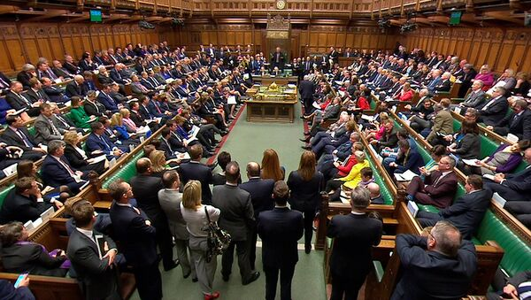 Britain's Prime Minister Theresa May addresses the House of Commons on her government's reaction to the poisoning of former Russian intelligence officer Sergei Skripal and his daughter Yulia in Salisbury, in London, March 14, 2018 - Sputnik International