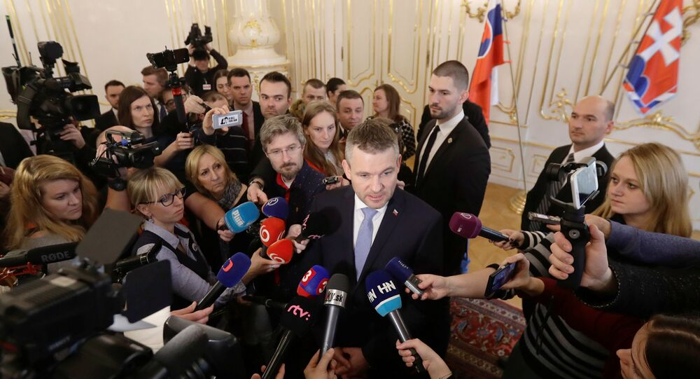 Slovak deputy Prime Minister Peter Pellegrini talks to the journalists after the meeting with President of Slovakia Andrej Kiska, at the Presidential Palace in Bratislava, Slovakia, March 15, 2018