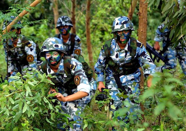 Chinese People's Liberation Army (PLA) women marines during a military exercise, somewhere on the south China coast (File)