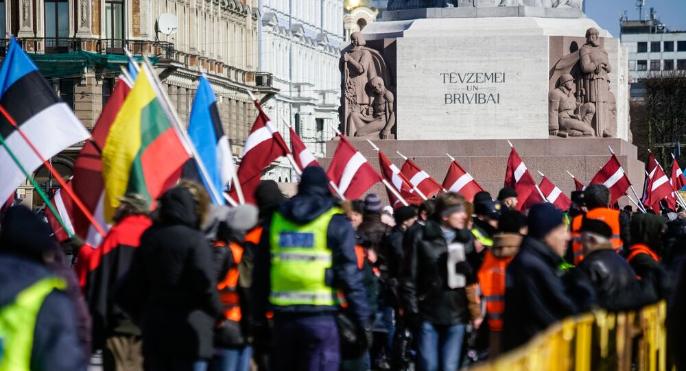 March of the former Latvian legionaries of Waffen SS in Riga