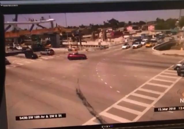 Surveillance footage captures moment pedestrian bridge at Florida International University collapses