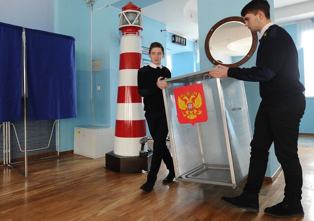 Preparing polling station at Rostov water transport college for presidential elections