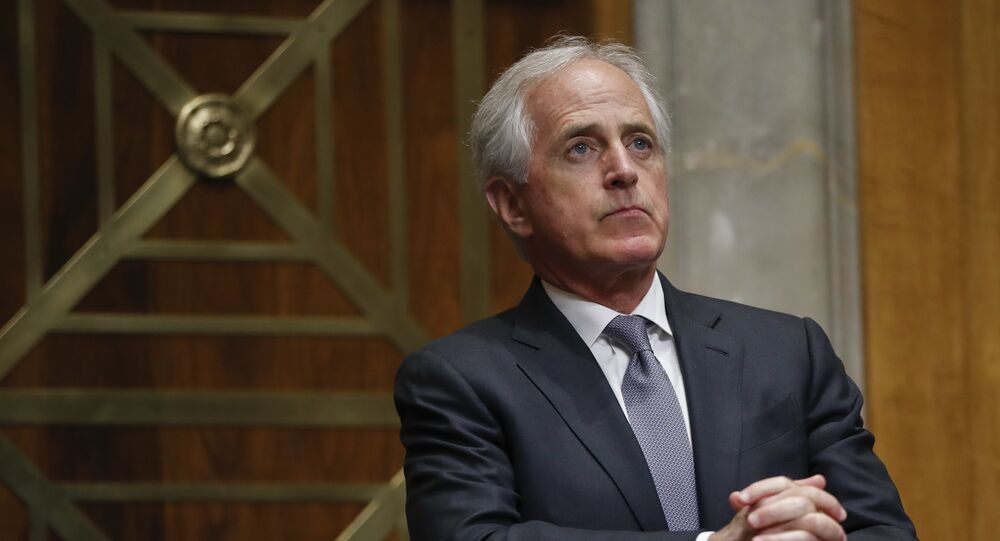 Senate Committee on Foreign Relations chairman Sen. Bob Corker, R-Tenn., listening to testimony by Britain's former Prime Minister David Cameron on Capitol Hill in Washington, Tuesday, March 13, 2018