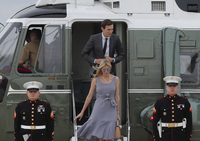 Ivanka Trump and her husband Jared Kushner step off Marine One helicopter and make the walk across the tarmac before boarding Air Force One before President Donald Trump's departure from Andrews Air Force Base. File photo