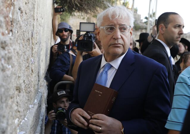 US ambassador to Israel David Friedman visits the Western Wall, the holiest site where Jews can pray, in the old city of Jerusalem on May 15, 2017