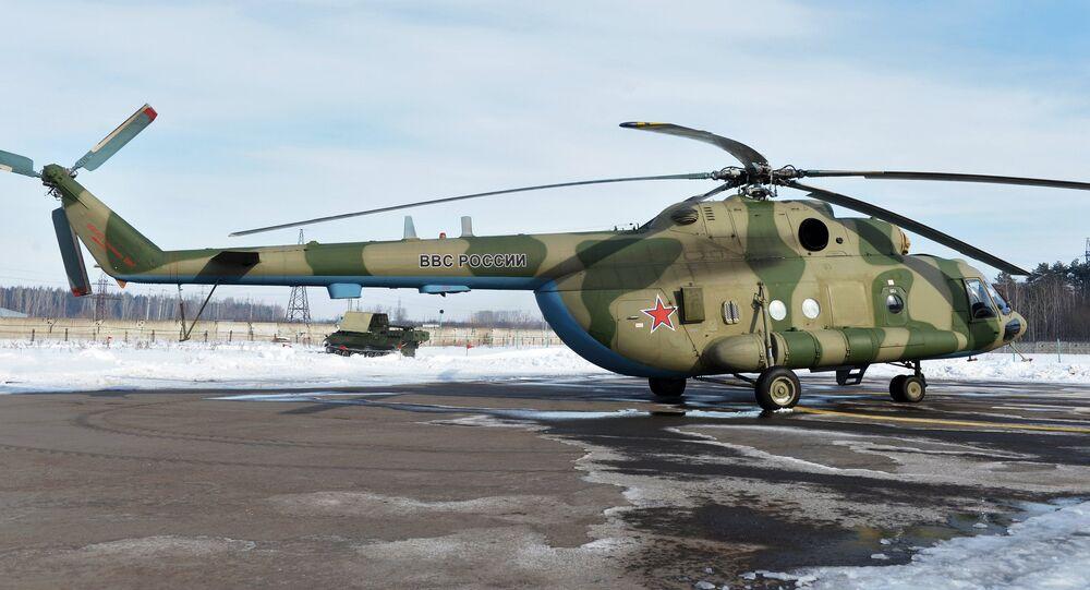 Mi-8 MTV-5-1 helicopter with the Rychag AV electronic warfare complex at the Kazan Optical-Mechanical Plant (KOMZ). File photo