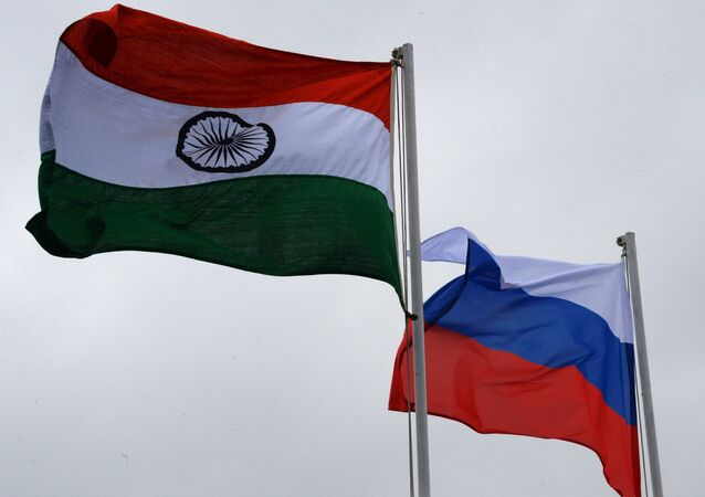 Russian and Indian national flags