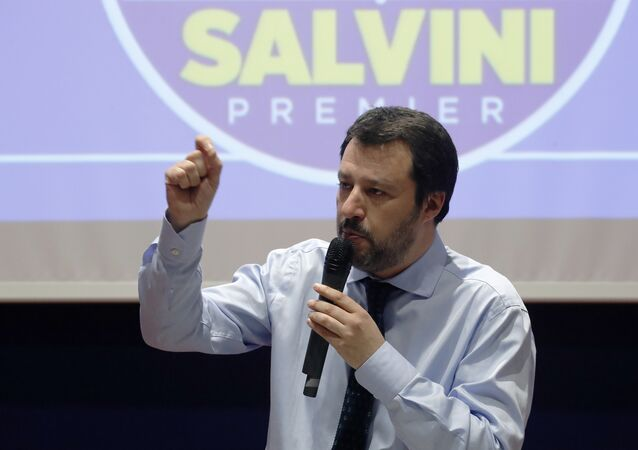 Leader of The League party Matteo Salvini talks during an electoral rally in Milan, Italy, Friday, March 2, 2018