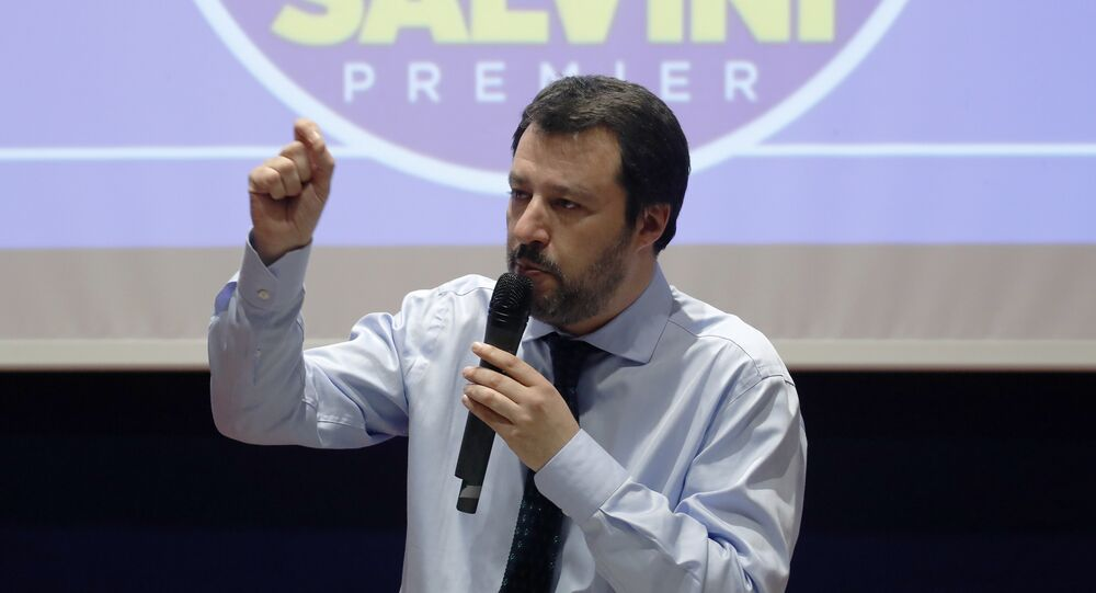 Leader of The League party Matteo Salvini talks during an electoral rally in Milan, Italy, March 2, 2018