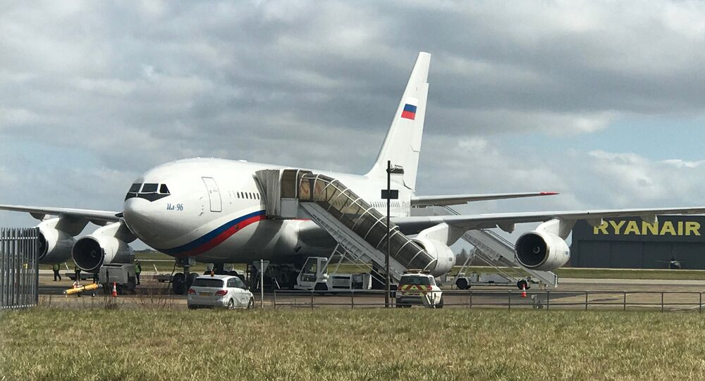 Rossiya Airlines Il-96 at the London Stansted Airport, which will carry Russian diplomats, who were ordered out from the Russian Embassy in London, to Moscow