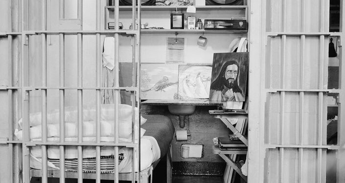 Cell of one of the several prisoners permitted to do oil paintings at Alcatraz Federal Penitentiary, in San Francisco Bay, Calif., March 16, 1956. (File)