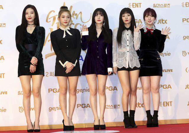 South Korean popular girl band Red Velvet poses for photographers during the 32nd Golden Disc Awards in Goyang, South Korea
